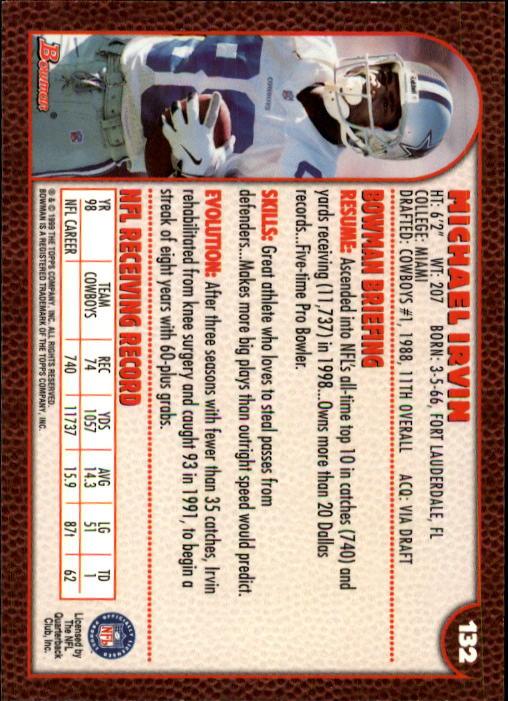 1999 Bowman #132 Michael Irvin back image