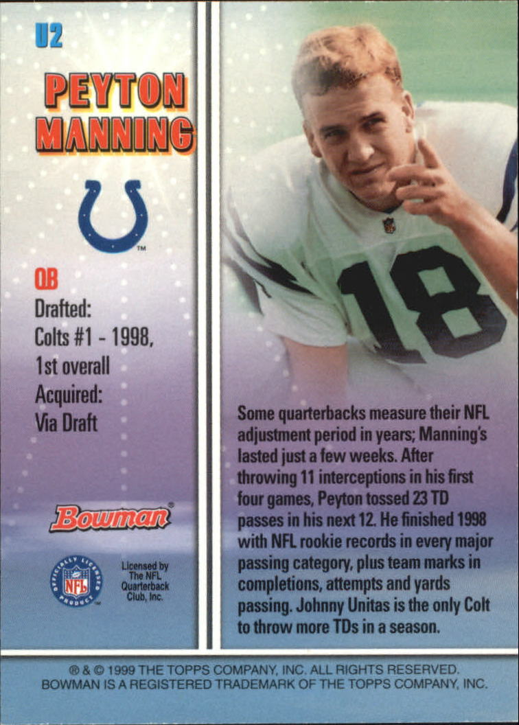 1999 Bowman Late Bloomers/Early Risers #U2 Peyton Manning back image