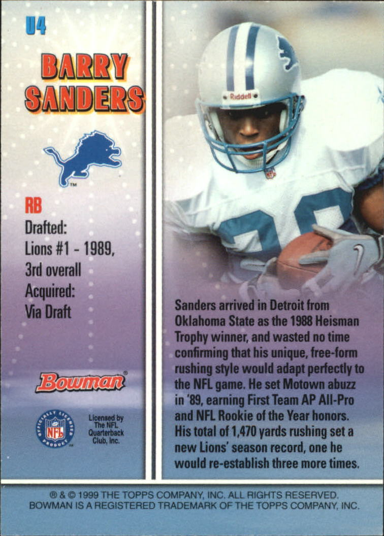 1999 Bowman Late Bloomers/Early Risers #U4 Barry Sanders back image