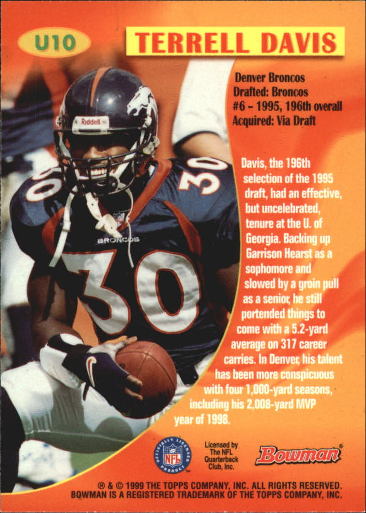 1999 Bowman Late Bloomers/Early Risers #U10 Terrell Davis back image