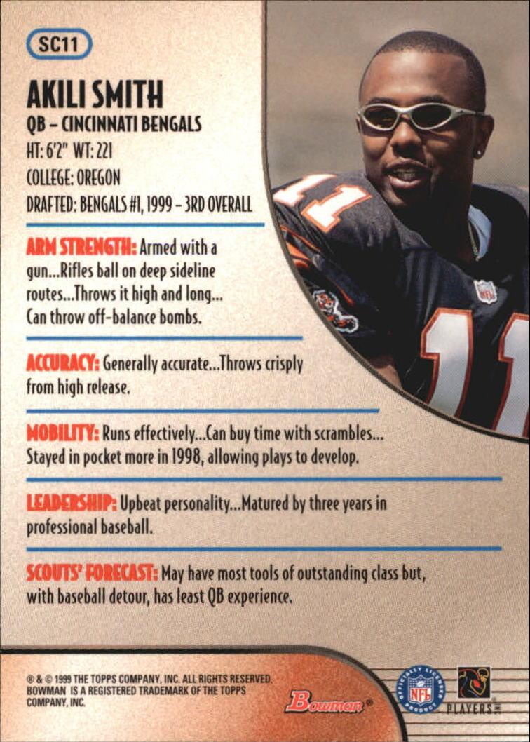 1999 Bowman Scout's Choice #SC11 Akili Smith back image