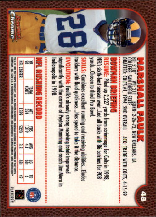 1999 Bowman Chrome #48 Marshall Faulk back image