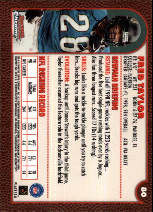 1999 Bowman Chrome #80 Fred Taylor back image