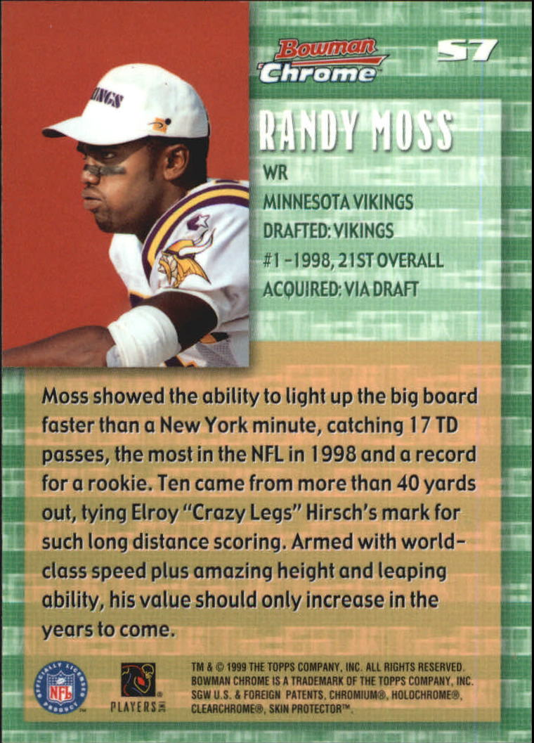 1999 Bowman Chrome Stock in the Game #S7 Randy Moss back image