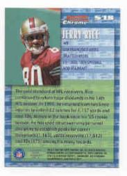 1999 Bowman Chrome Stock in the Game #S18 Jerry Rice back image