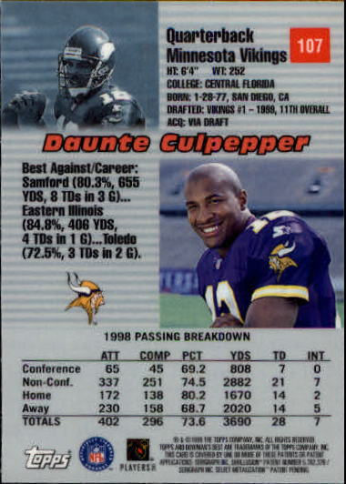1999 Bowman's Best #107 Daunte Culpepper RC back image