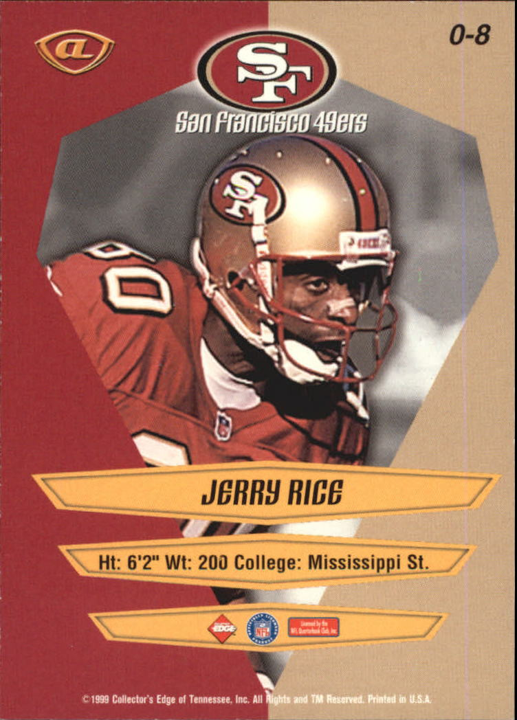 1999 Collector's Edge Advantage Overture #8 Jerry Rice back image