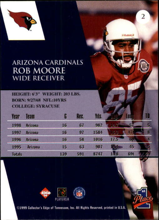 1999 Collector's Edge First Place #2 Rob Moore back image