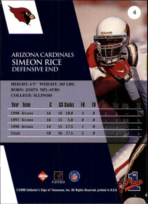 1999 Collector's Edge First Place #4 Simeon Rice back image