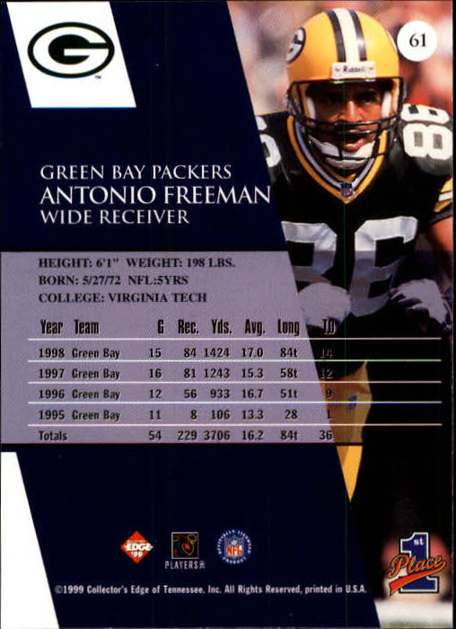 1999 Collector's Edge First Place #61 Antonio Freeman back image