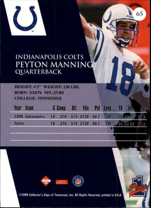 1999 Collector's Edge First Place #65 Peyton Manning back image