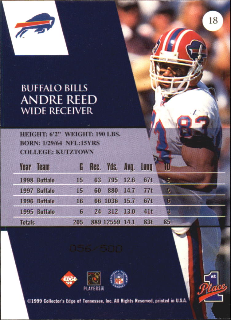 1999 Collector's Edge First Place Galvanized #18 Andre Reed back image