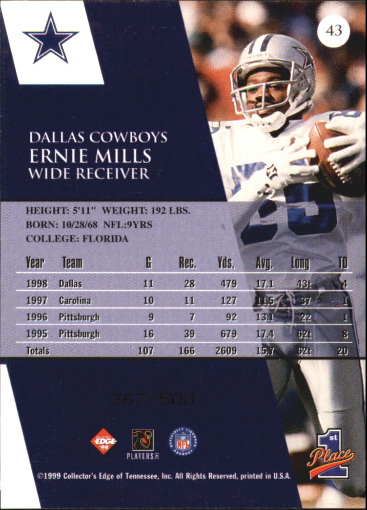 1999 Collector's Edge First Place Galvanized #43 Ernie Mills back image