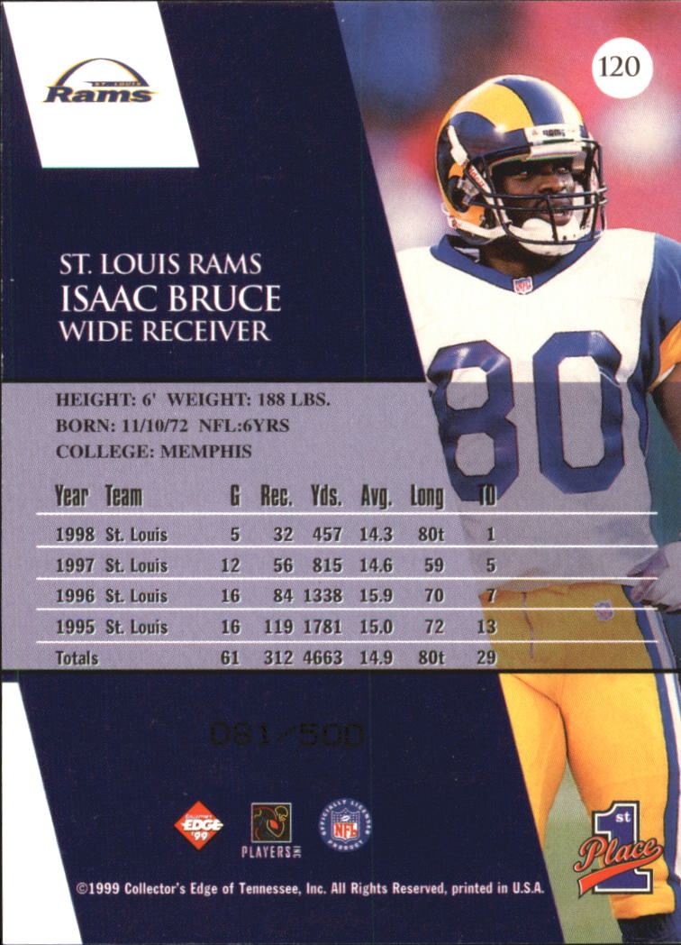 1999 Collector's Edge First Place Galvanized #120 Isaac Bruce back image