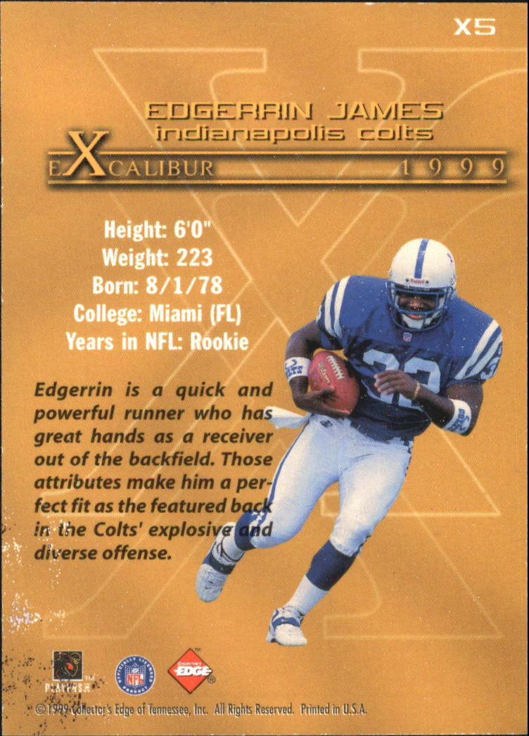 1999 Collector's Edge First Place Excalibur #X5 Edgerrin James back image