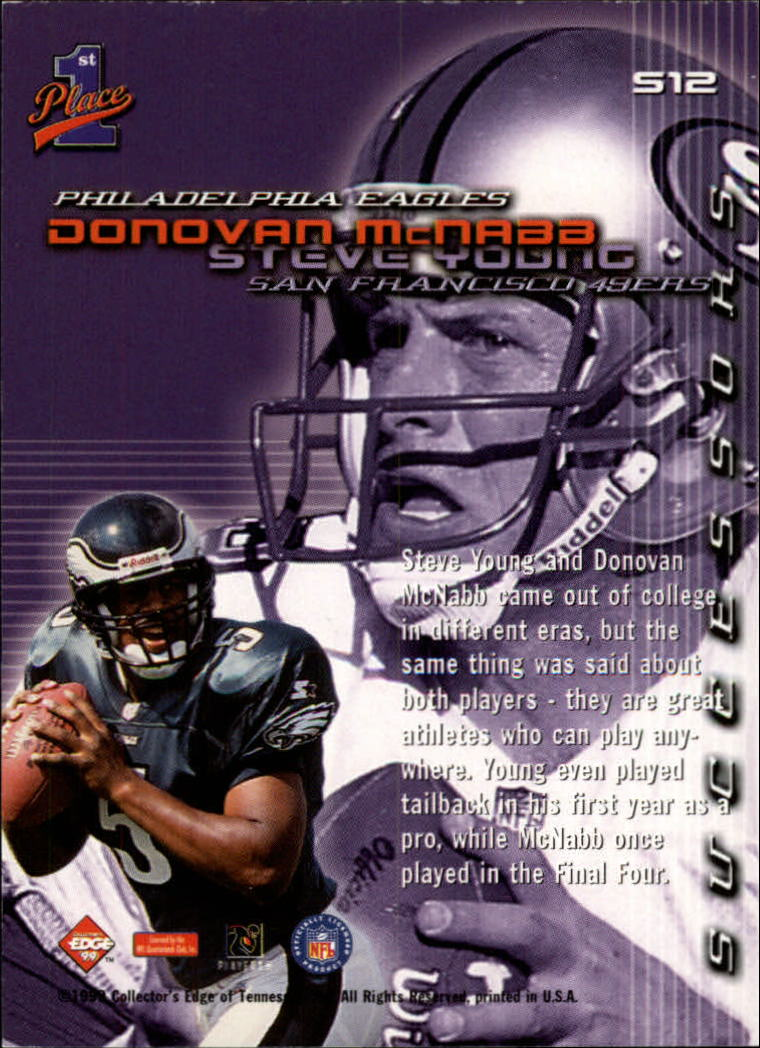 1999 Collector's Edge First Place Successors #S12 D.McNabb/S.Young back image