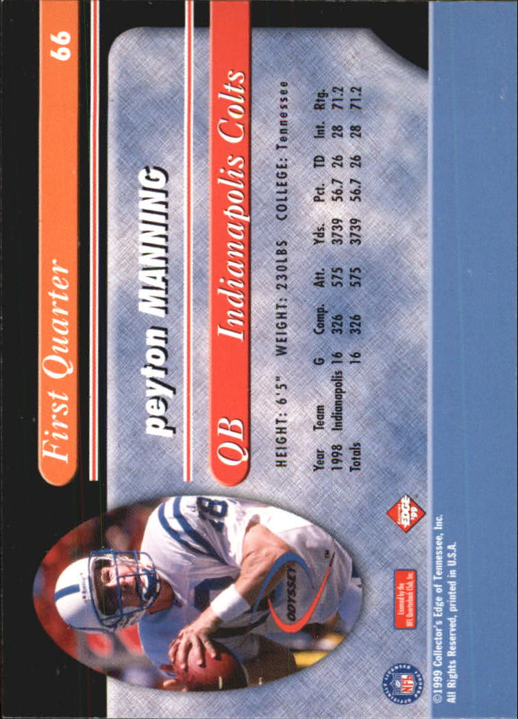1999 Collector's Edge Odyssey #66 Peyton Manning back image