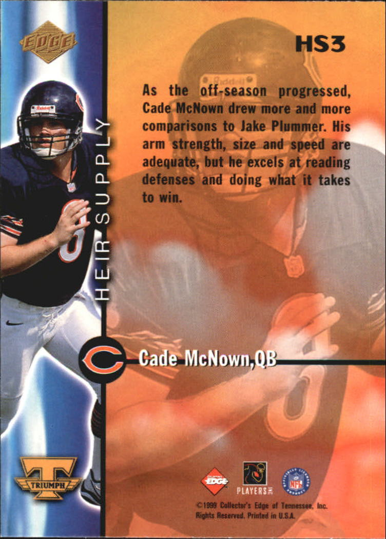 1999 Collector's Edge Triumph Heir Supply #HS3 Cade McNown back image