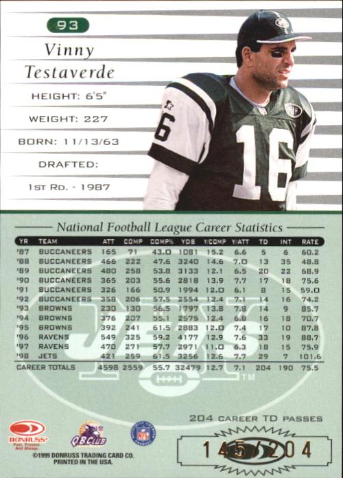 1999 Donruss Stat Line Career #93 Vinny Testaverde/204 back image