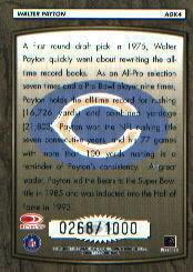 1999 Donruss All-Time Gridiron Kings Autographs #AGK4 Walter Payton back image