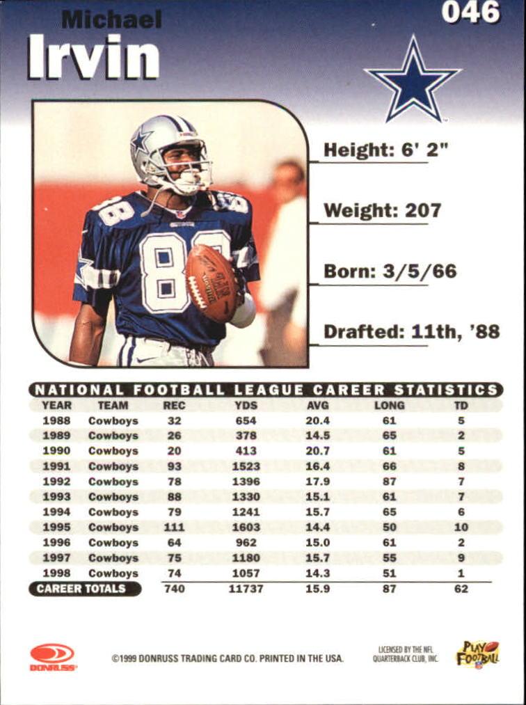 1999 Donruss Elite #46 Michael Irvin back image