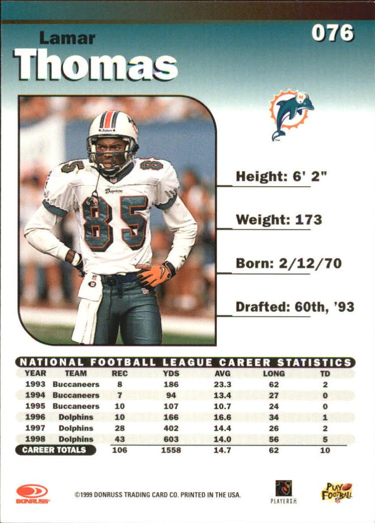 1999 Donruss Elite #76 Lamar Thomas back image