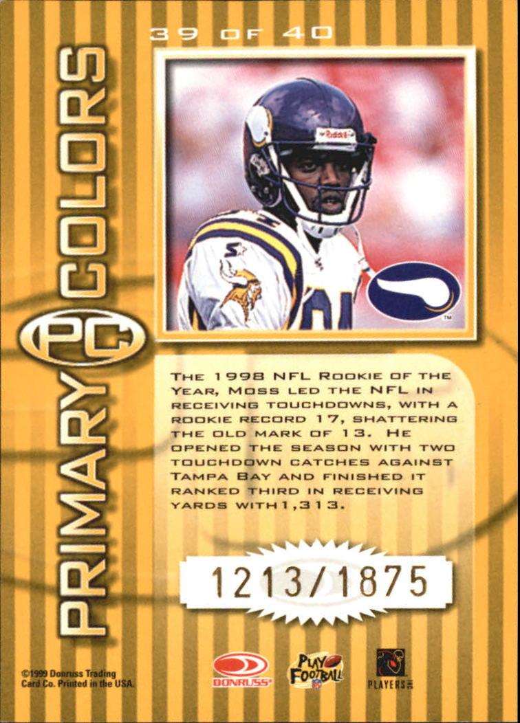 1999 Donruss Elite Primary Colors Yellow #39 Randy Moss back image