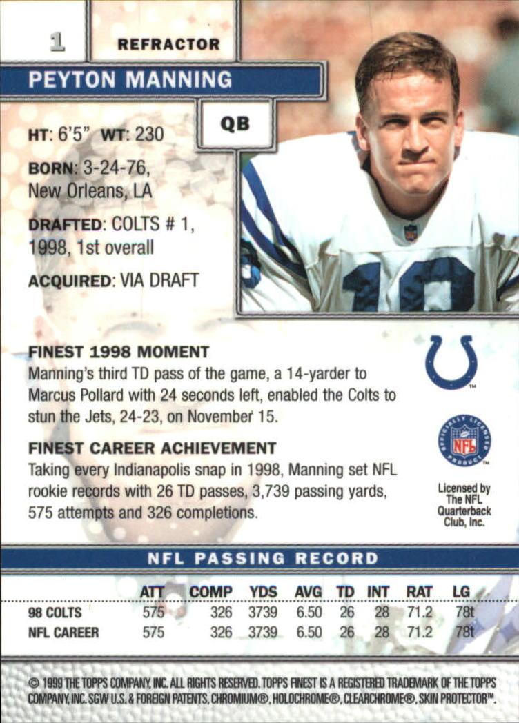 1999 Finest Refractors #1 Peyton Manning back image