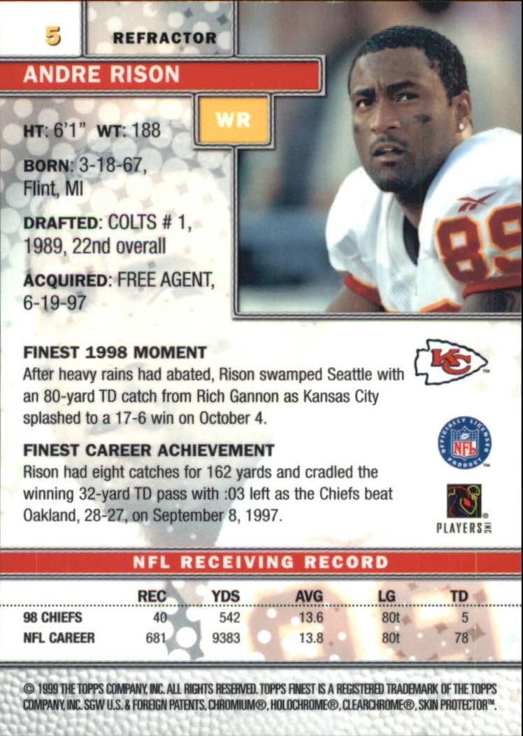 1999 Finest Refractors #5 Andre Rison back image