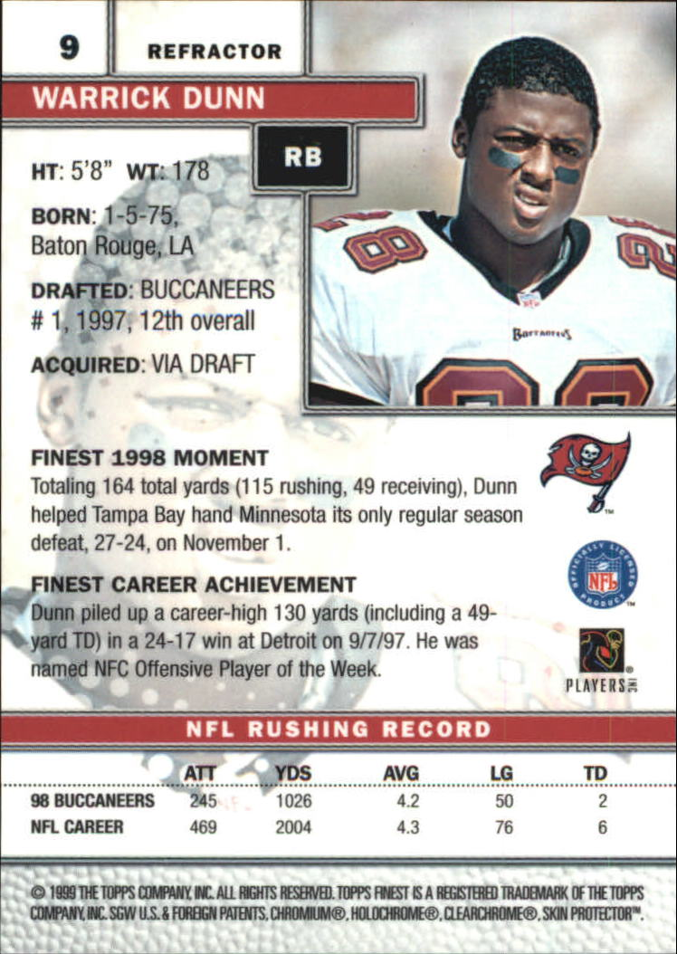 1999 Finest Refractors #9 Warrick Dunn back image