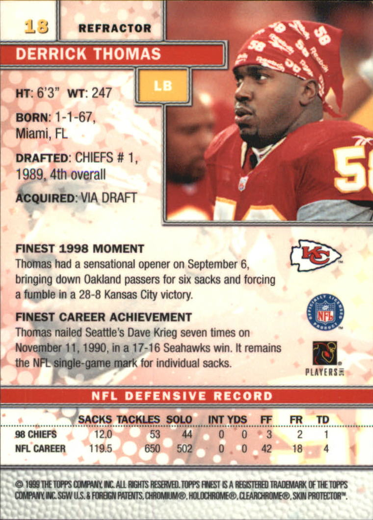1999 Finest Refractors #18 Derrick Thomas back image