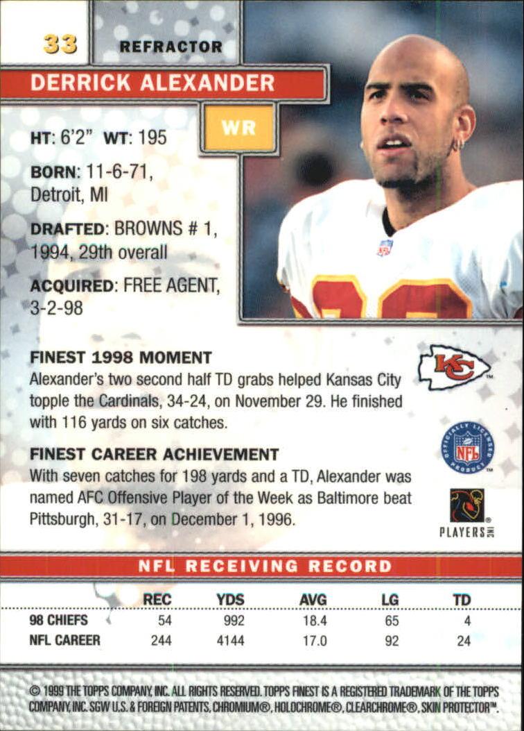 1999 Finest Refractors #33 Derrick Alexander back image