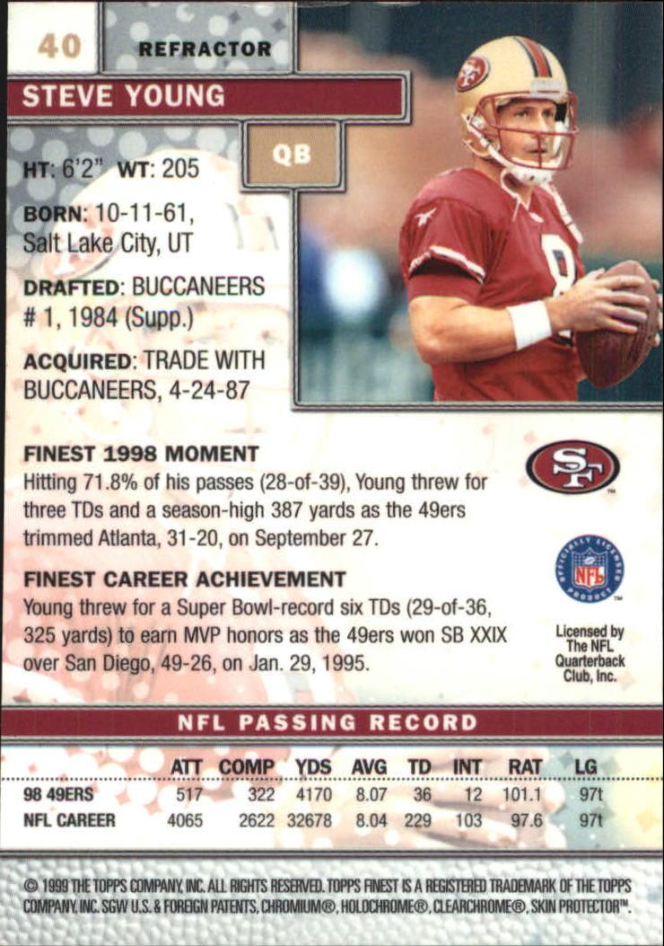 1999 Finest Refractors #40 Steve Young back image