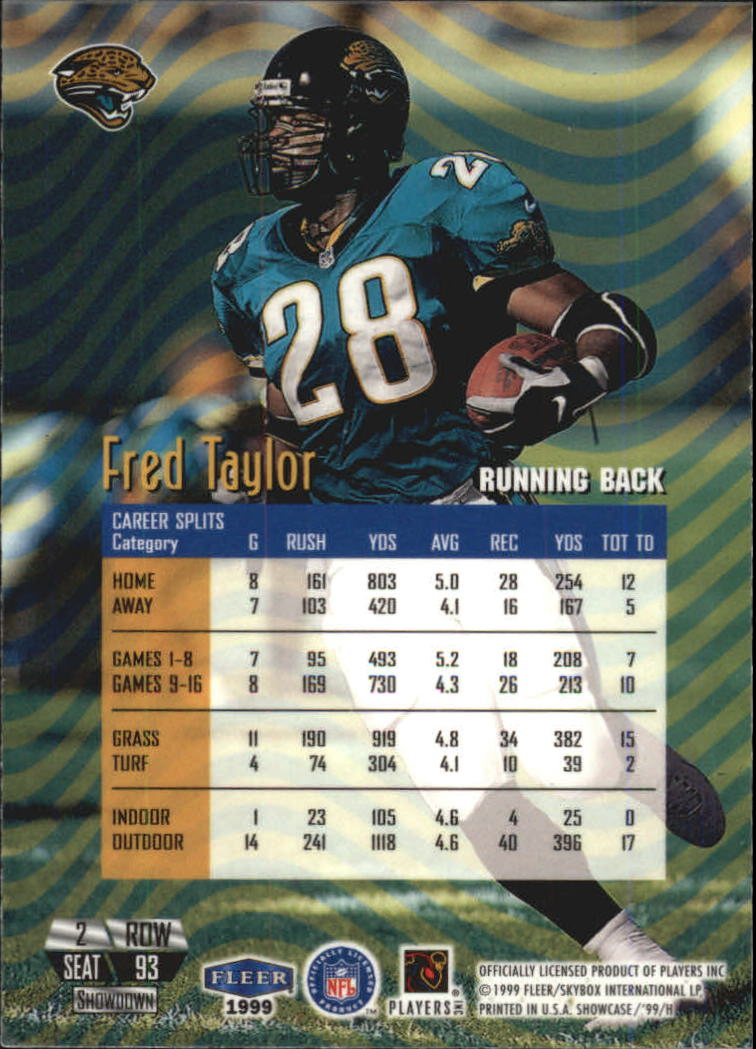 1999 Flair Showcase #93 Fred Taylor PN back image