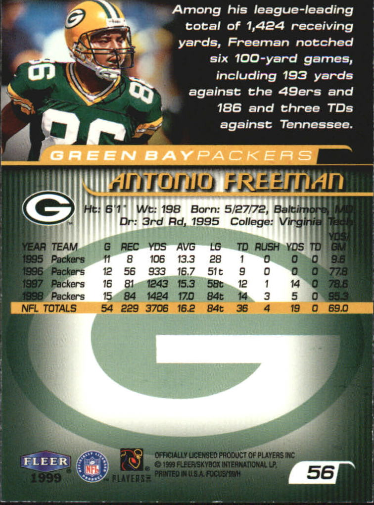1999 Fleer Focus #56 Antonio Freeman back image