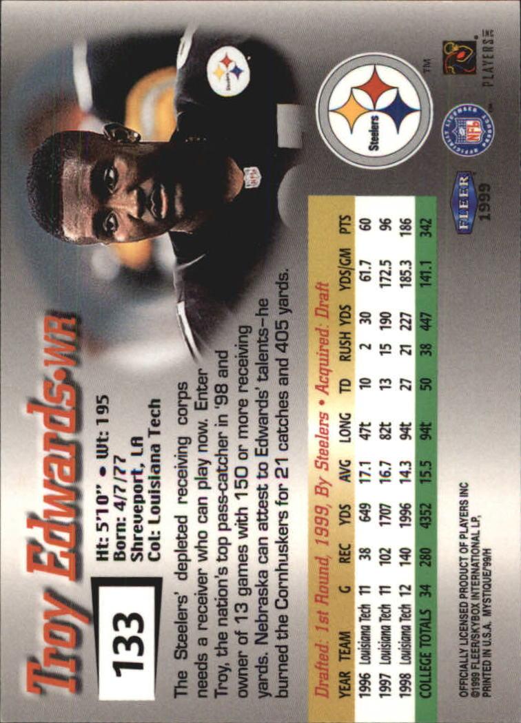 1999 Fleer Mystique #133 Troy Edwards RC back image