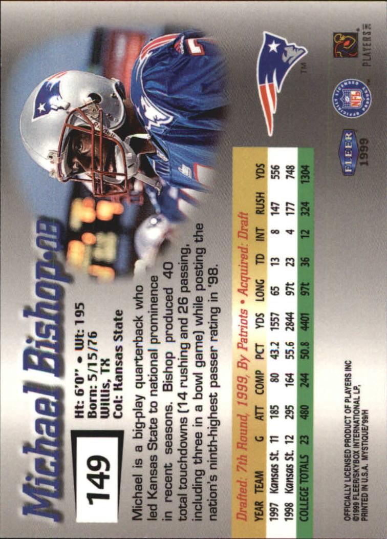 1999 Fleer Mystique #149 Michael Bishop RC back image