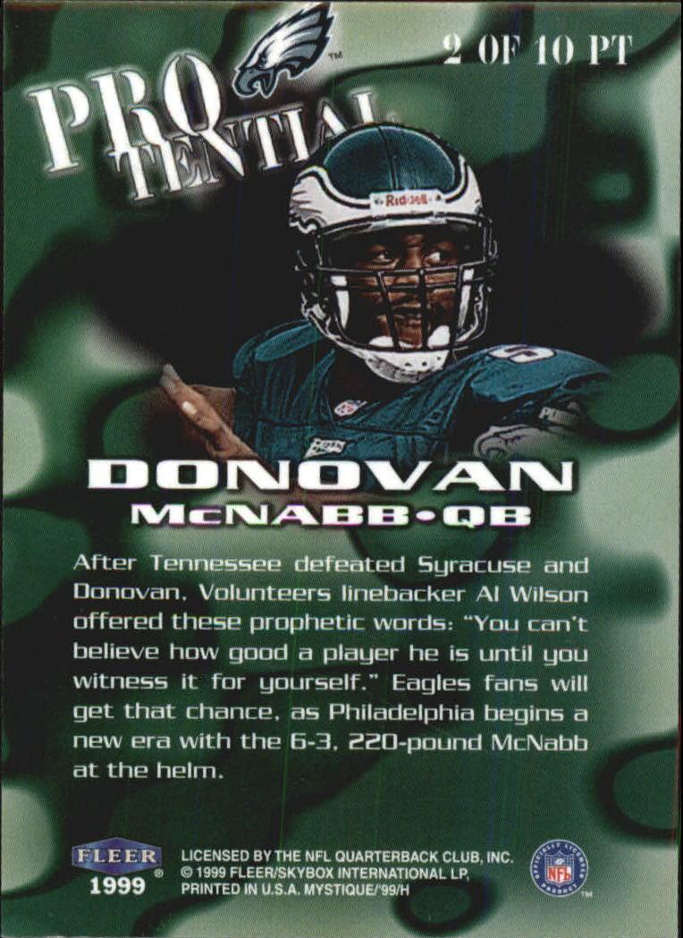 1999 Fleer Mystique Protential #2PT Donovan McNabb back image