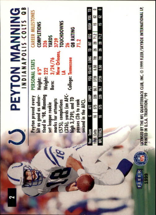 1999 Fleer Tradition #2 Peyton Manning back image