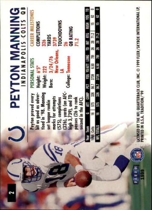 1999 Fleer Tradition #2 Peyton Manning back image