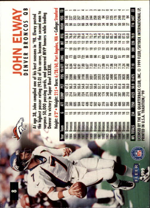 1999 Fleer Tradition #8 John Elway back image