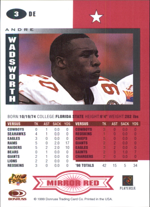 1999 Leaf Certified Mirror Red #3 Andre Wadsworth back image