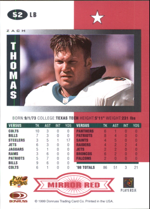 1999 Leaf Certified Mirror Red #52 Zach Thomas back image