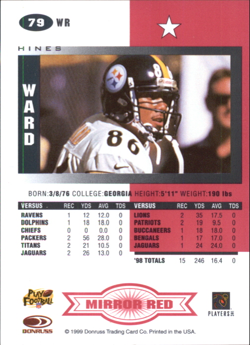 1999 Leaf Certified Mirror Red #79 Hines Ward back image
