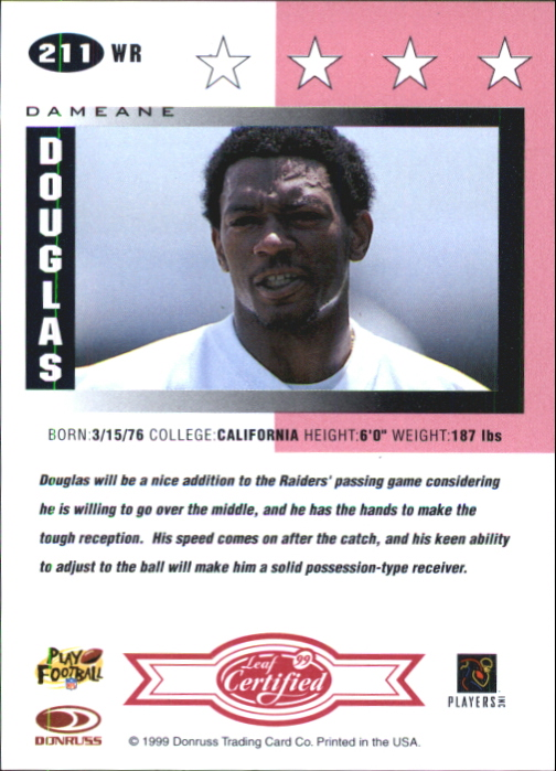 1999 Leaf Certified Mirror Red #211 Dameane Douglas back image