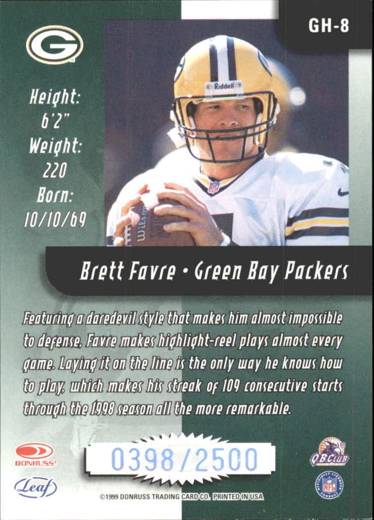 1999 Leaf Rookies and Stars Greatest Hits #GH8 Brett Favre back image