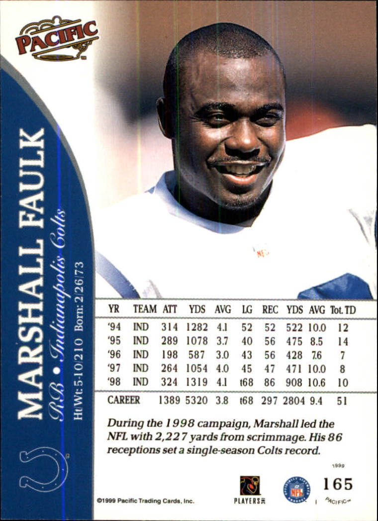 1999 Pacific #165 Marshall Faulk back image
