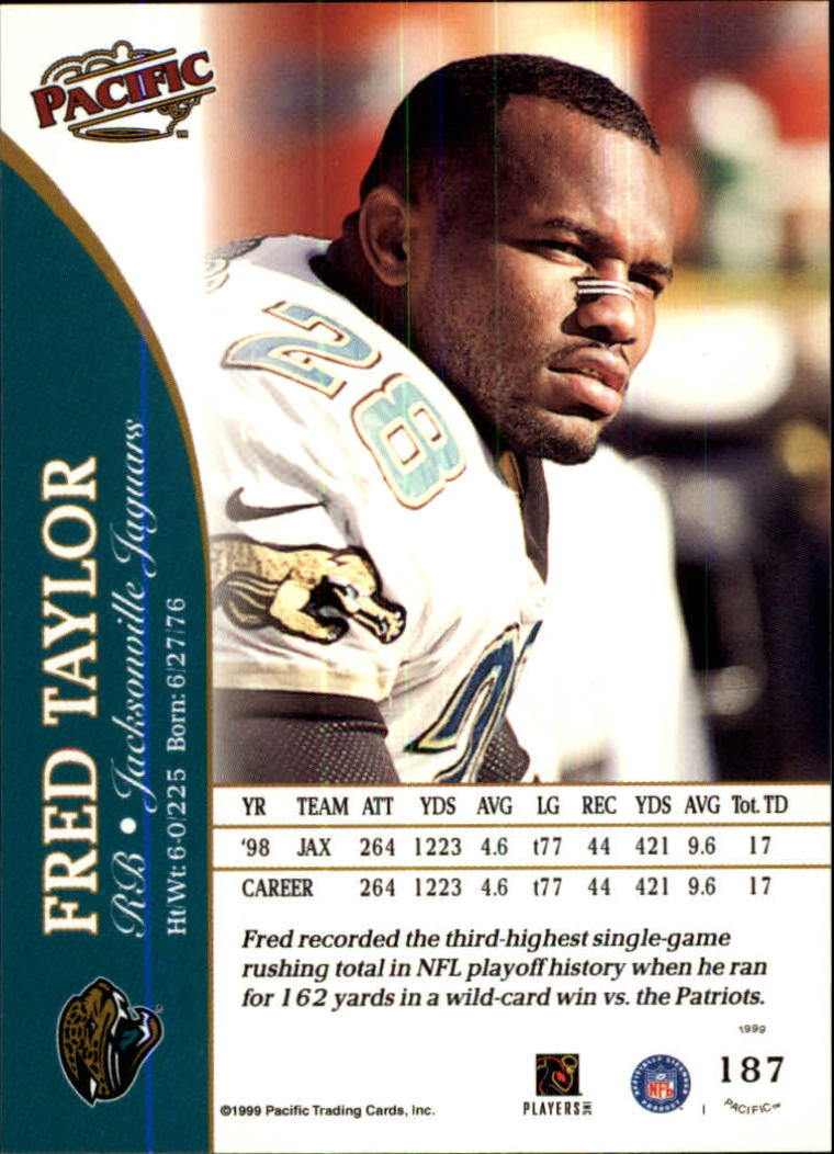 1999 Pacific #187 Fred Taylor back image