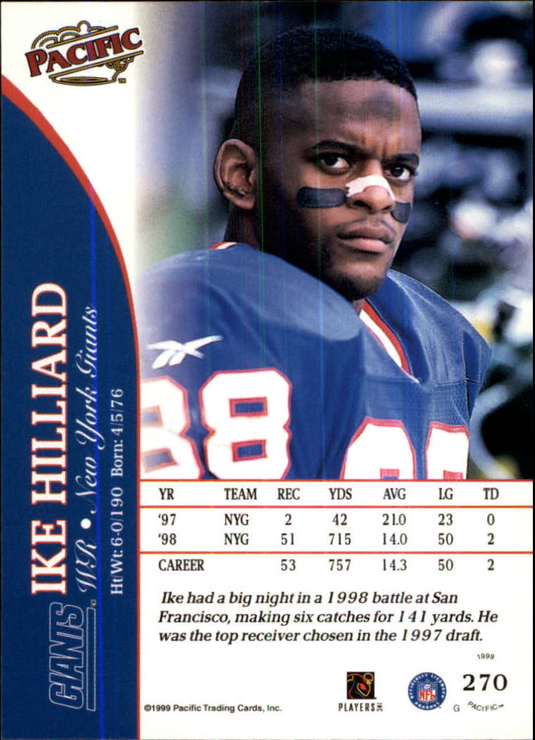 1999 Pacific #270 Ike Hilliard back image