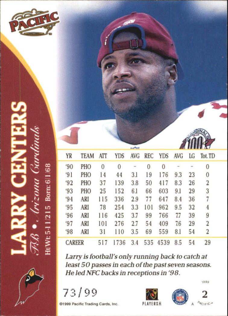 1999 Pacific Copper #2 Larry Centers back image